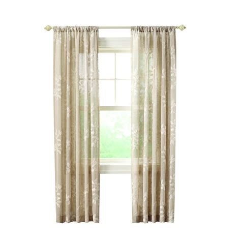 home decorators collection sheer sand rod pocket printed home decorators collection sheer linen leaf embroidery rod
