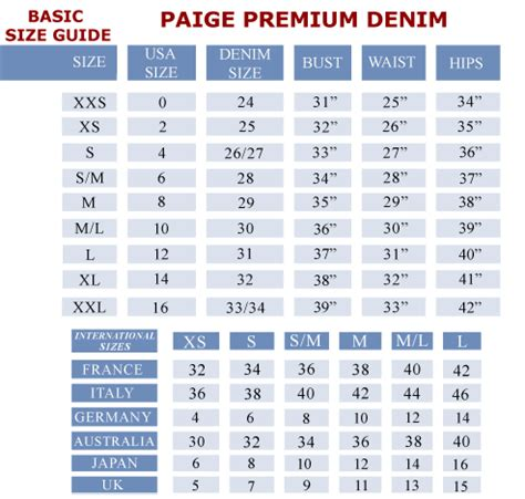 Jean Rack For Closet by Paige Denim Size Chart Paige Premium Denim Size Chart