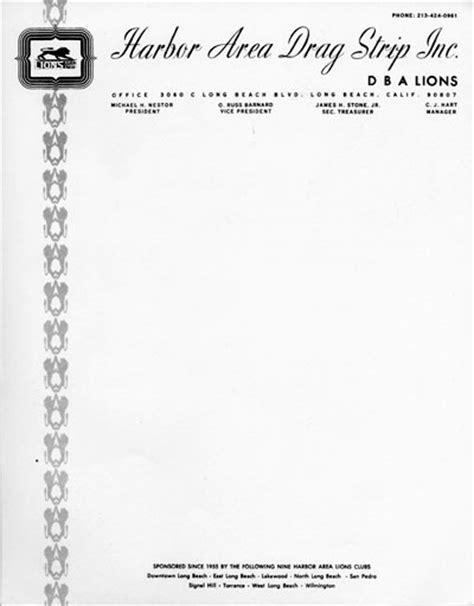Santa Anna Drags History Hambsters The H A M B Lions Club Letterhead Template