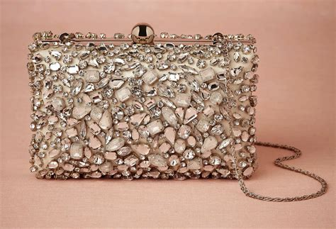 braut clutch beaded with tulle glam bridal clutch onewed