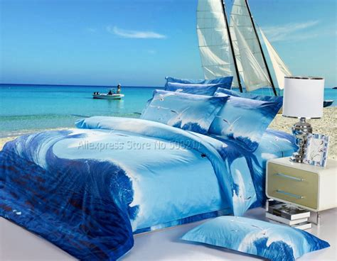 flying sea gull pattern ocean blue 3d oil painting bedding