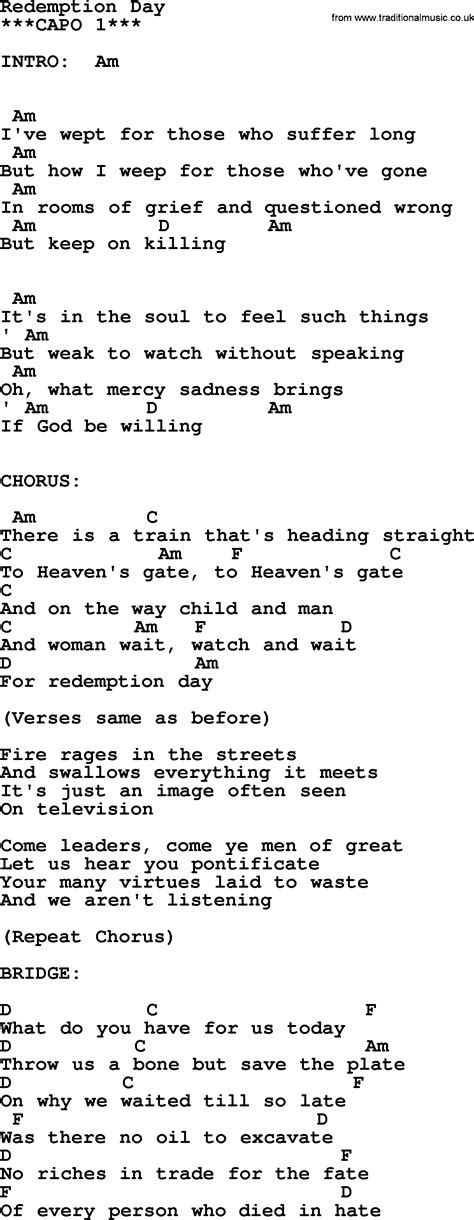 song lyrics and chords johnny song redemption day lyrics and chords
