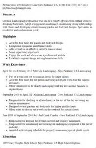 Landscaping Resume Exles Sles Professional Landscaping Templates To Showcase Your Talent Myperfectresume