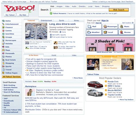 www yahoo search news homepage yahoo visual timeline 1996 2006 search engine journal