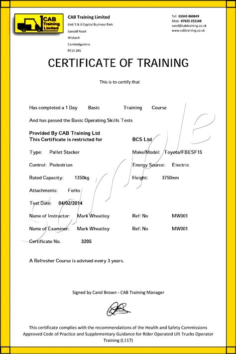 Free Forklift Certification Card Template by Forklift Certificate Template 28 Images How To Get
