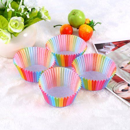 100 5 Pcs Rainbow hurrise 100 pcs rainbow color cupcake liner cupcake paper