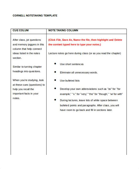 cornell note taking template free printable cornell notes