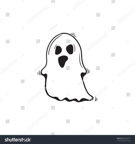 doodle ghost ghost doodle stock vector 689756197
