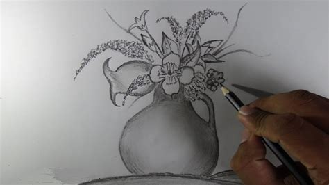 Drawing Of Flowers In Vase by How To Draw A Flower Vase Pencil Drawing