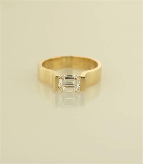emerald cut modern solitaire ring r1070ew
