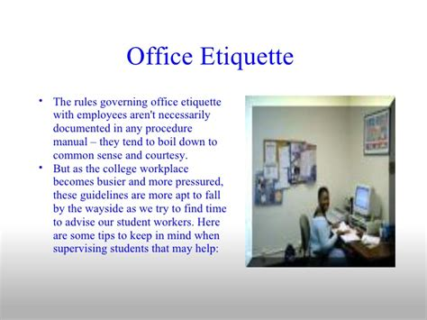 Office Etiquette Office Etiquette For Employees