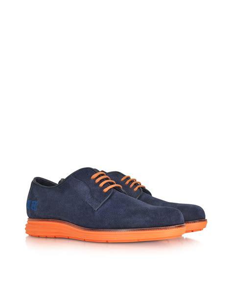 orange oxford shoes d acquasparta blue suede oxford w fluo orange
