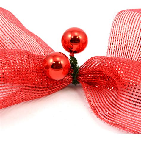 6 quot green tinsel ties w 50mm balls red set of 12