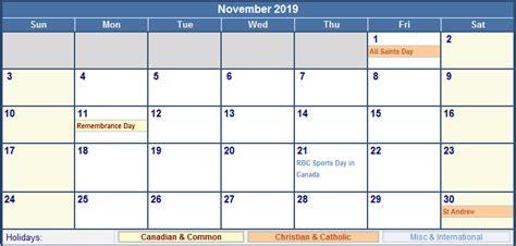 Calendar 2019 With Holidays Canada November 2019 Canada Calendar With Holidays For Printing