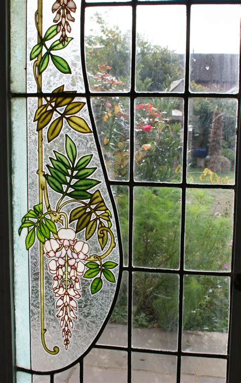 ref fre pair antique french stained glass windows