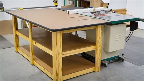 build a table saw build a workbench outfeed table