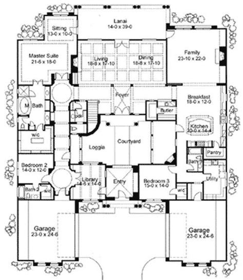 Style Home Plans With Courtyard by Home Plans Courtyard Courtyard Home Plans Corner
