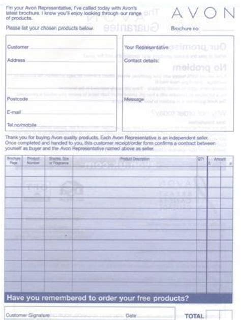 free avon receipt template avon order form pdf hardhost info
