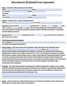 Free Massachusetts Standard Residential Lease Agreement Form Pdf Template Massachusetts Rental Lease Template