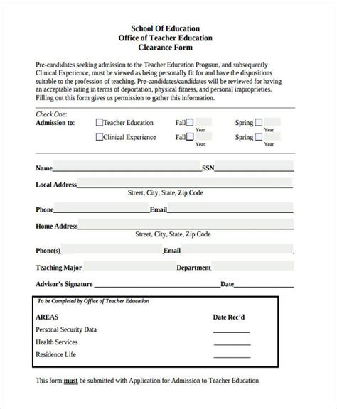 clearance form 30 sle clearance forms