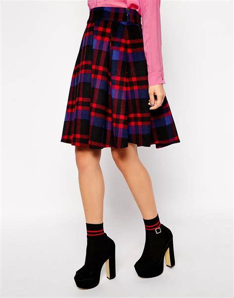 asos asos premium midi skirt in bonded check at asos