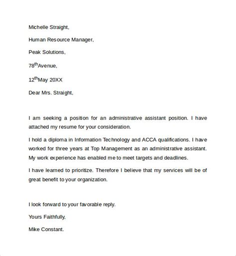 cover letter for a administrative position sle administrative assistant cover letter template 8