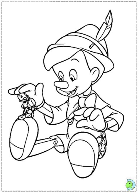 disney coloring pages pinocchio pinocchio and jiminy cricket coloring page dinokids org