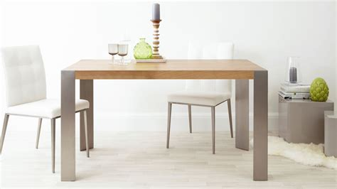 Modern Oak Dining Table Modern Oak Dining Table Brushed Steel Legs Seats 6