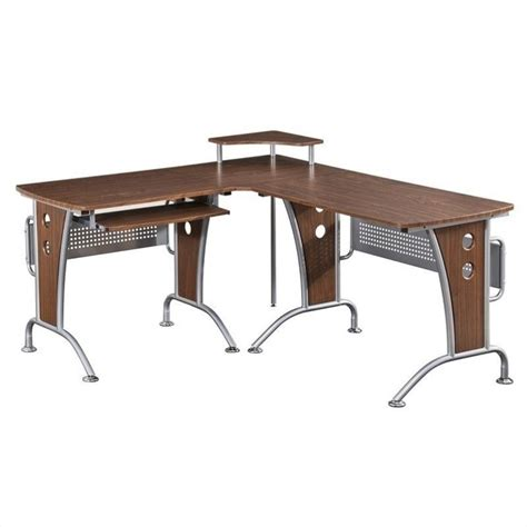 Computer L Shaped Desk Computer Desk Home Office Workstation Table L Shape Wood Metal In Mahogany Ebay