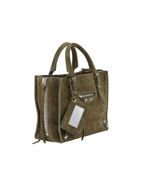 Balenciaga 2 Tone Suede Satchel by Balenciaga Papier A4 Mini Suede Tote Bag Vert Olive