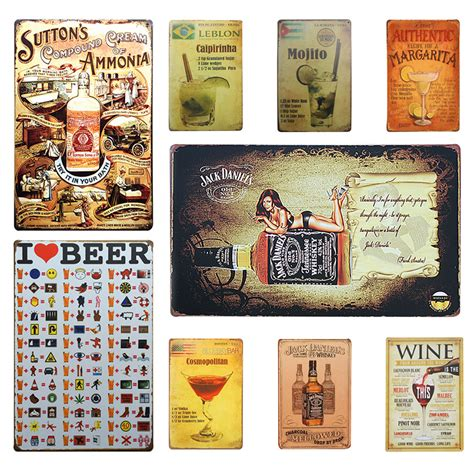 wine beer vintage home decor tin sign 8 quot x12 quot metal signs wine whiskey beer cocktail vintage home decor tin sign 8
