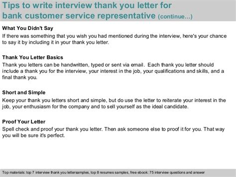 thank you letter after for customer service bank customer service representative