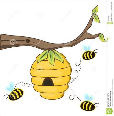 bee hive clip beehive on a tree clipart