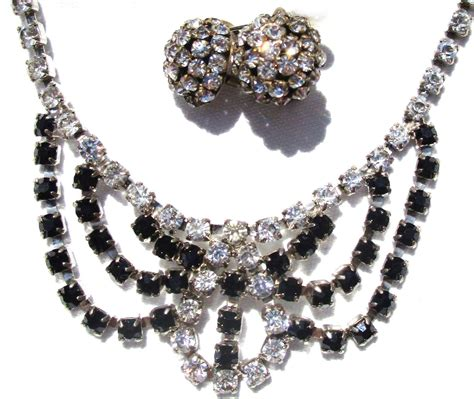 Rhinestone Necklace Earring vintage black and white rhinestone necklace earrings from