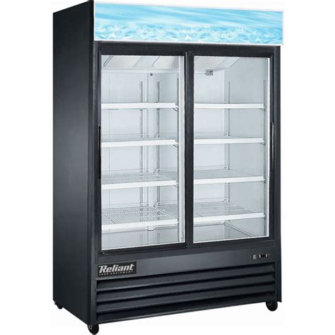 Reliant 47 Cu Ft 2 Sliding Glass Door Cooler Black Glass Door Coolers For Sale