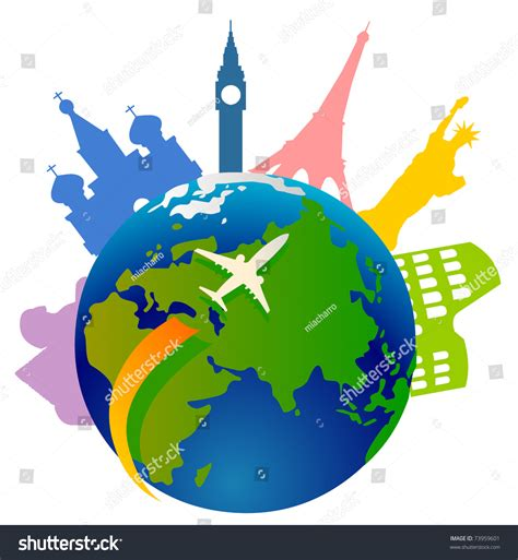 Search Around The World Plane Traveling Around The World And A Few Important Landmarks From All The World