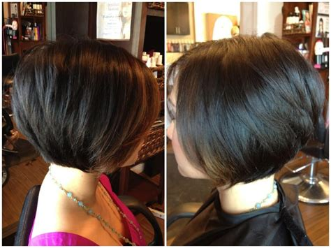 show front back and side pictures of short to medium lenght hair graduated bob haircut front and back views