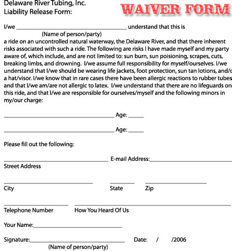 Free Printable Liability Waiver Sle Form Generic Release Of Liability Template Free