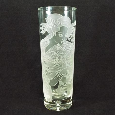 Etched Glass Vases by Etched Glass Vase 11 5 Quot H