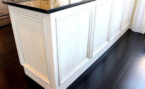 Dressing Up Kitchen Cabinets Add Molding To The Back Of A Boring Kitchen Peninsula To Give It A Texture And More Of A