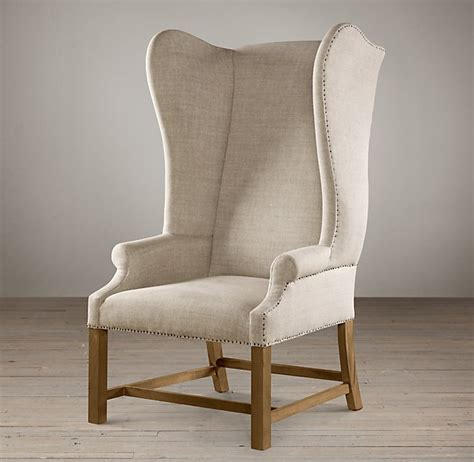 upholstered wing chair burlap linen twine