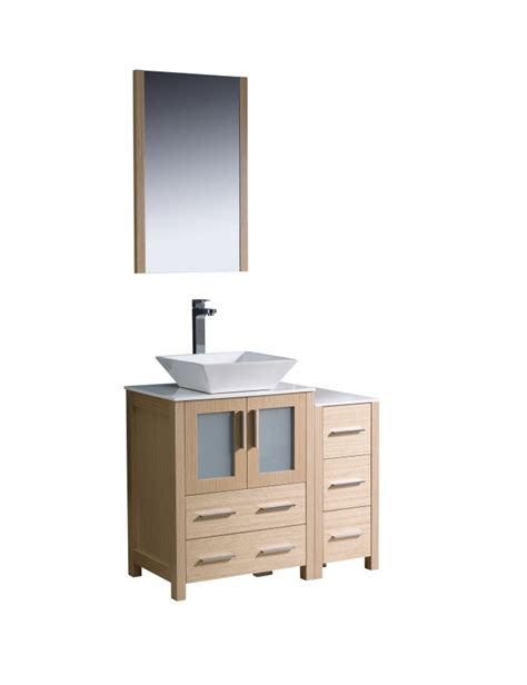 36 inch vessel sink bathroom vanity in light oak