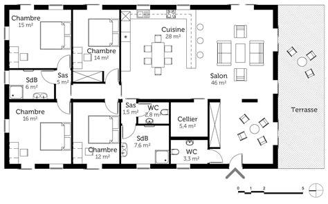 plan maison plain pied en l 4 chambres plan maison de plain pied 160 m 178 avec 4 chambres ooreka