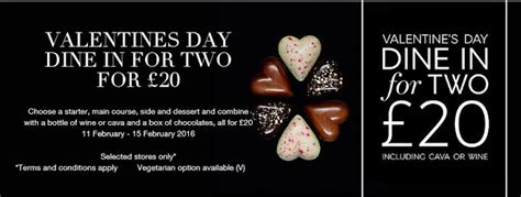 m and s dine in valentines marks and spencer s day dine in for two for 163 20