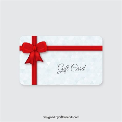 Red Gift Card - gift card with red ribbon vector free download
