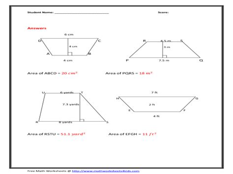 free printable area of trapezoid worksheets area of trapezoids worksheet worksheets releaseboard