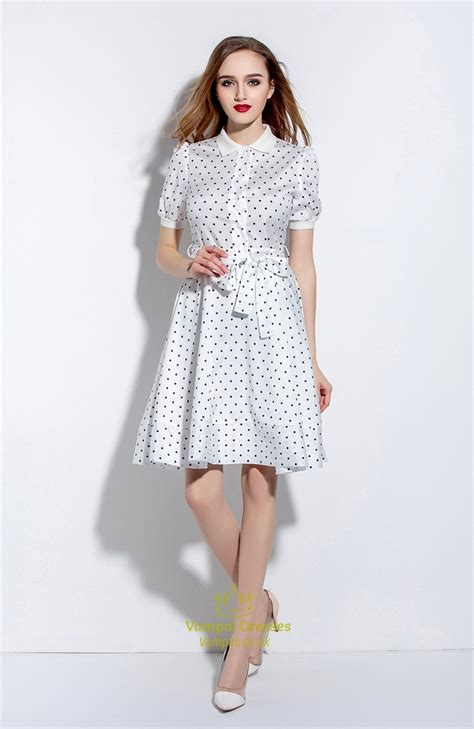 Polka Dot Sleeve A Line Dress white polka dot sleeve a line dress with belt