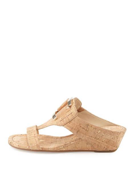 neutral wedge sandals donald j pliner daun buckle cork wedge sandal neutral