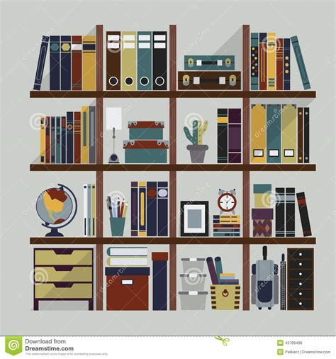 wooden bookshelf with different objects stock vector