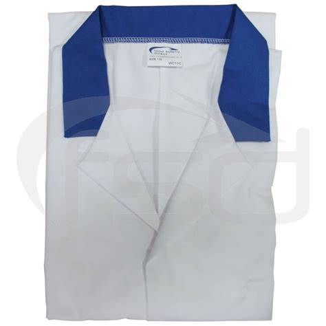 Plain Collared Coat white lab coat with coloured collar royal blue